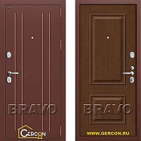 Стальная дверь Groff T2-232 Антик Медь/Brown Oak